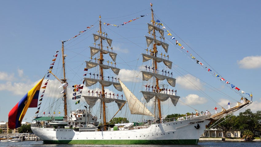 The ARC Gloria is the official flagship of the Colombian Navy. It was commissioned in 1968 as a sail-training ship, teaching midshipmen seamanship, navigation, and teamwork.
