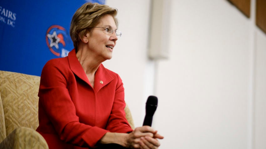 FILE -- Sen. Elizabeth Warren (D-Mass.) speaks at the American University in Washington, Nov. 29, 2018. The question of whether to make use of or disavow super PACs is a pressing one for the many Democrats pondering a run for the presidency; Warren is likely to fall in the latter camp. (T.J. Kirkpatrick/The New York Times)