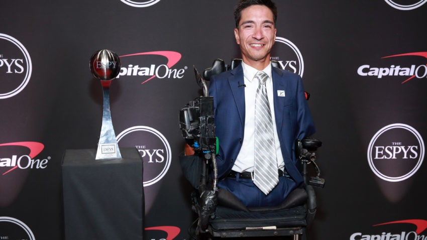 LOS ANGELES, CALIFORNIA - JULY 10:  Rob Mendez poses with t2019 Jimmy V Award for Perseverance during The 2019 ESPYs at Microsoft Theater on July 10, 2019 in Los Angeles, California. (Photo by Rich Fury/Getty Images)